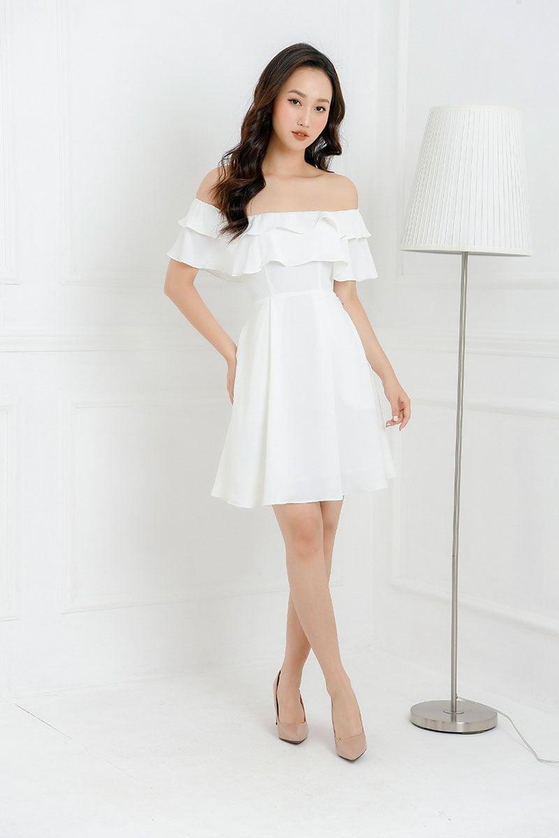 Đầm trắng dự tiệc cuối năm - hóa nàng thơ mong manh, duyên dáng