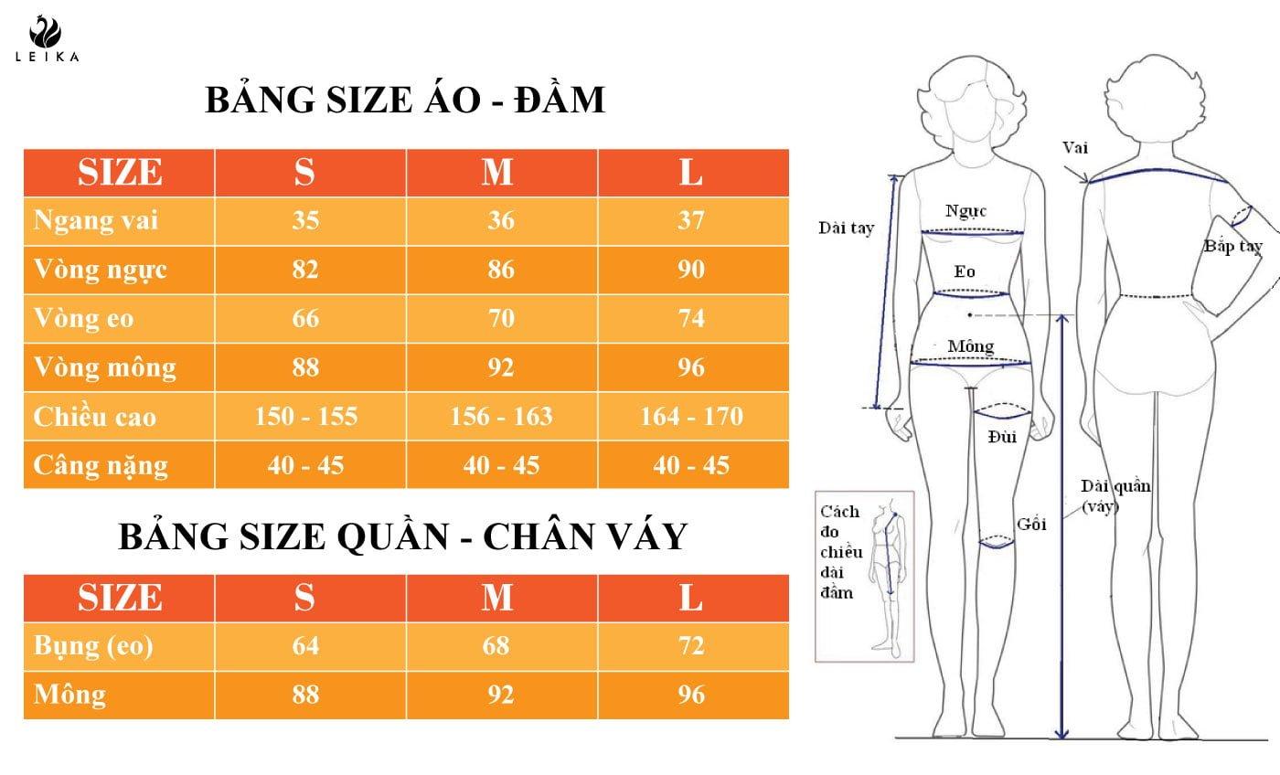 Bảng size thời trang