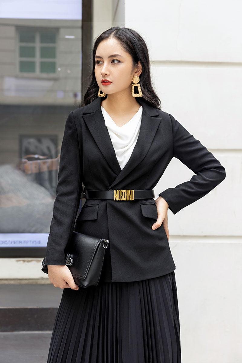 Áo vest CA ôm, dáng dài đen