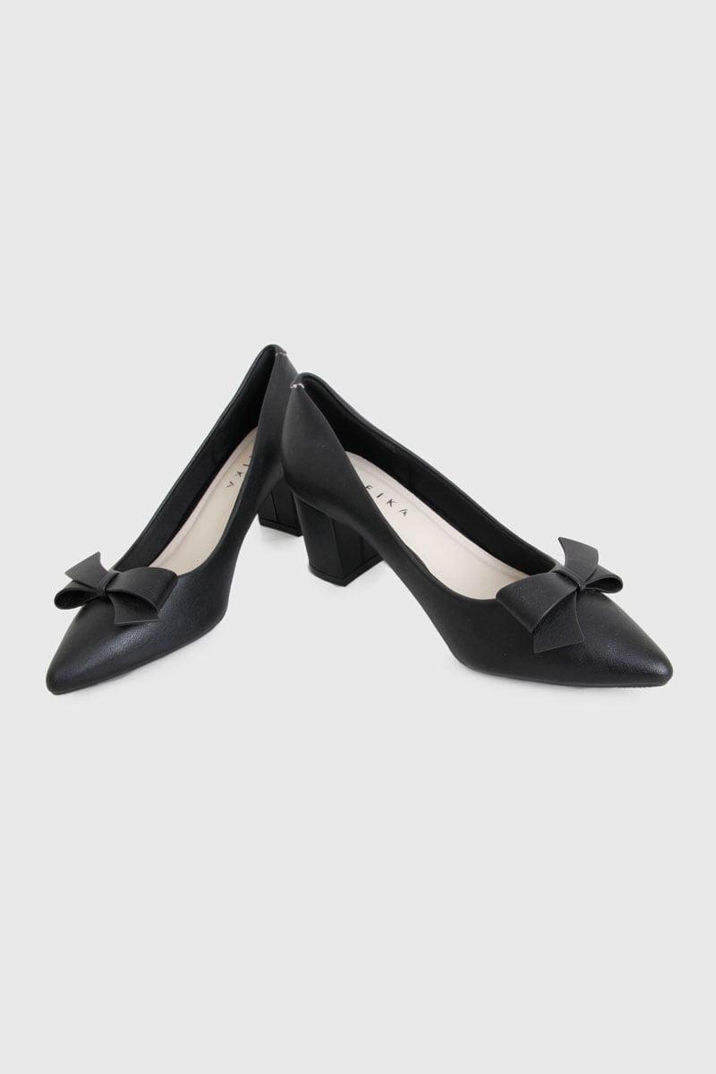 Giày cao gót phối nơ đế vuông đen