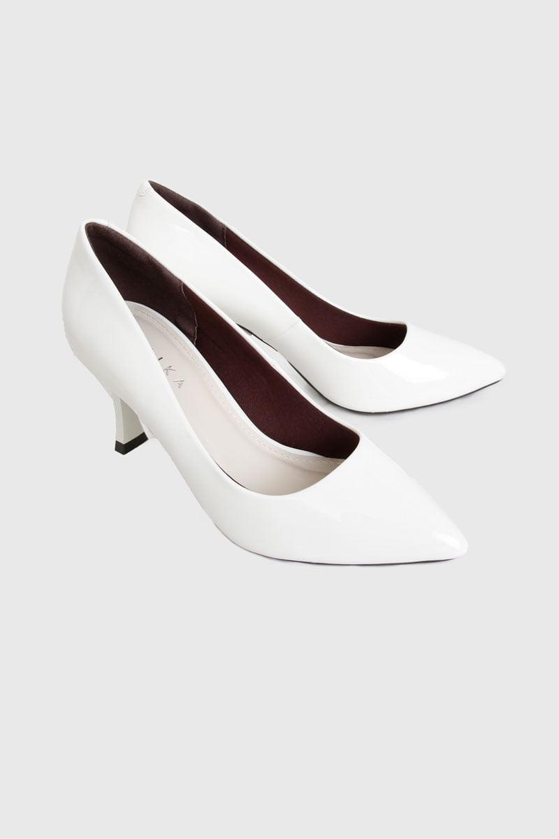 Giày trơn gót mảnh vuông 7cm trắng