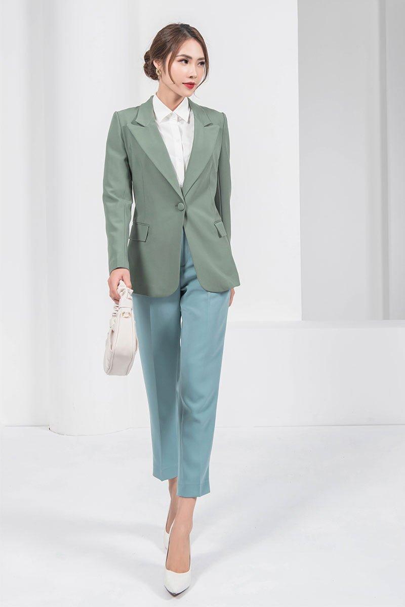 Áo vest CA ôm xếp ly sườn xanh lá