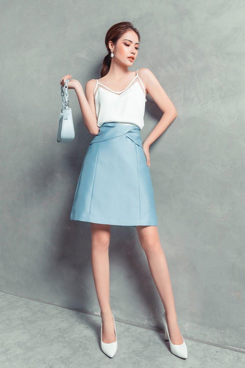 Chân váy A CA xoắn eo xanh dương