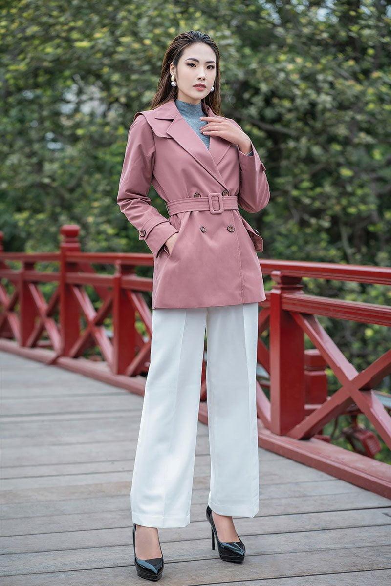Áo khoác dáng ngắn lá bong hồng