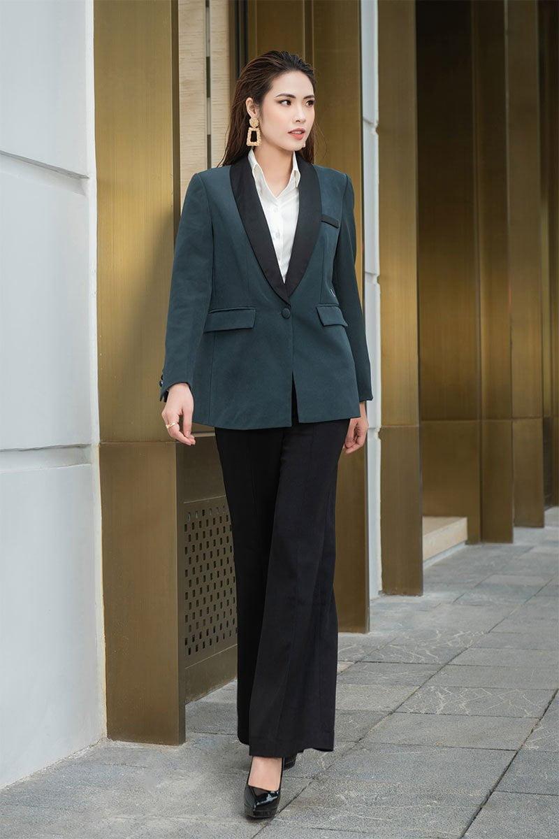 Áo vest suông cổ phối xanh dương