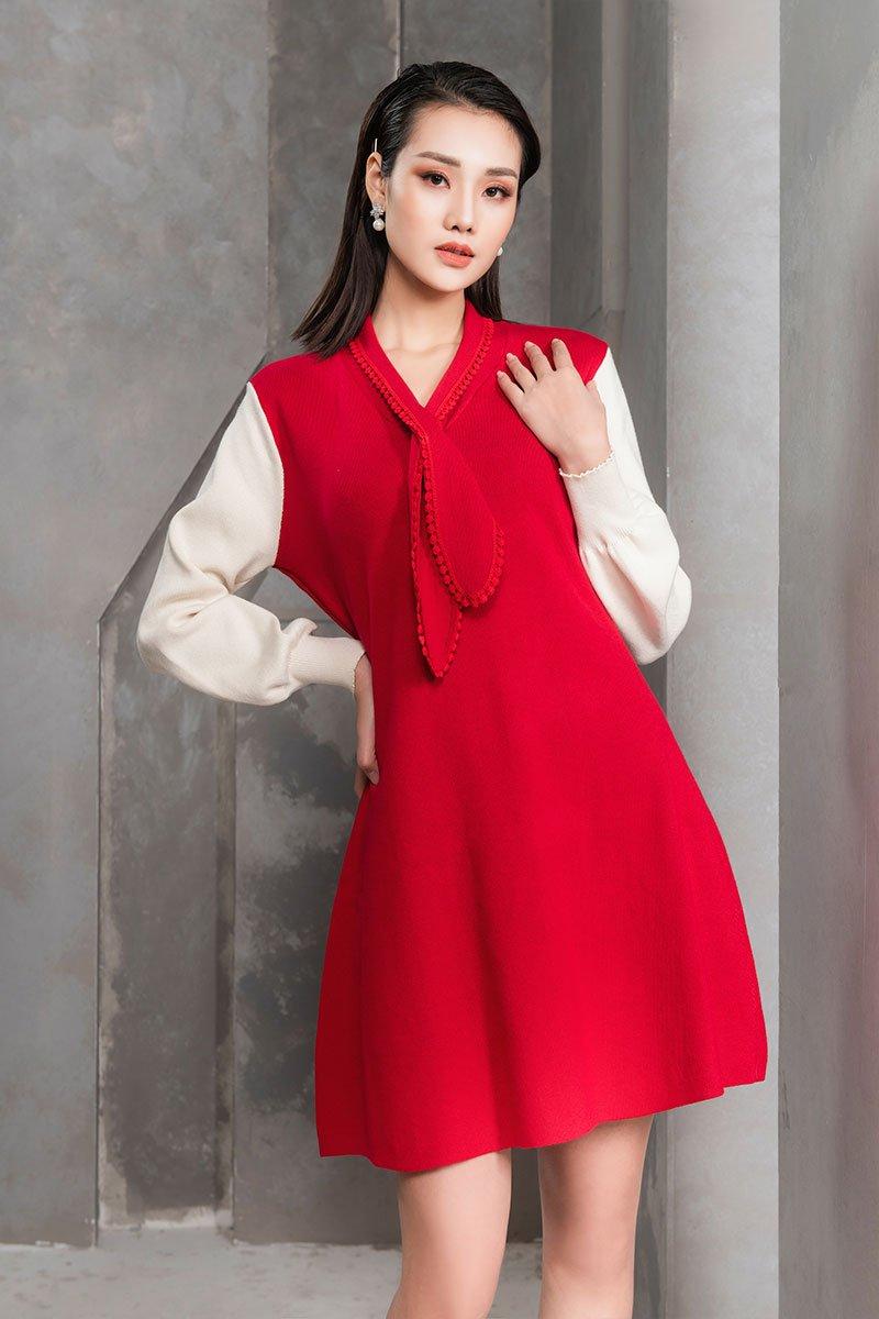 Đầm len xòe CA cổ thắt nơ đỏ