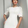 Đầm ôm CT xếp ly vai trước trắng