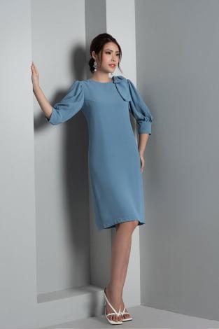 Đầm suông LT vai đính nơ xanh dương