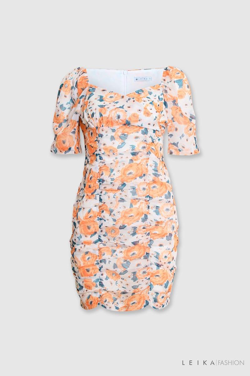 Đầm ôm CT hoa xếp ly cam