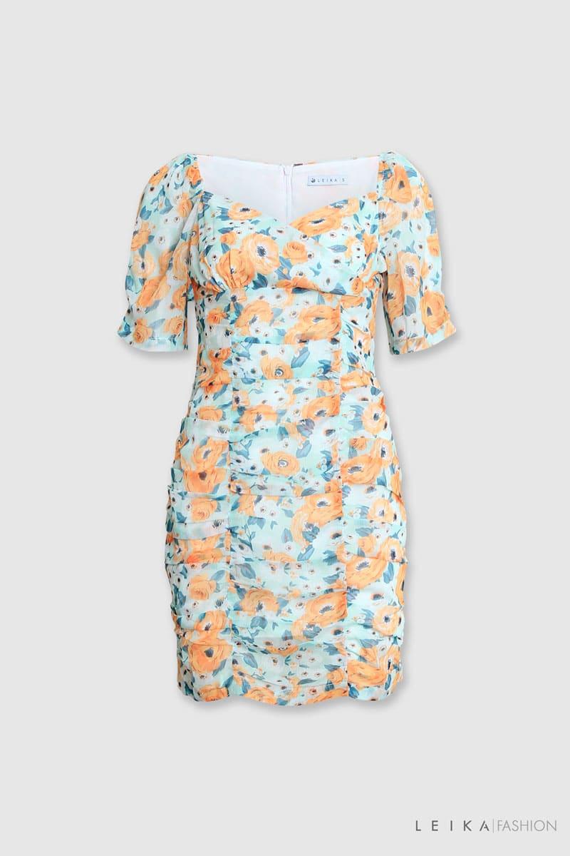 Đầm ôm CT hoa xếp ly xanh lá