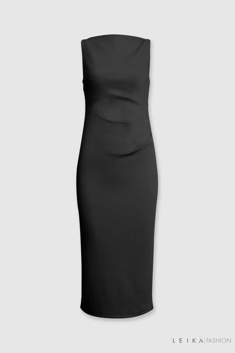 Đầm ôm SN cổ ngang xếp ly sườn đen