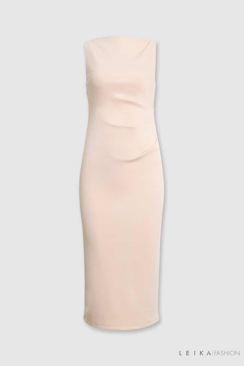 Đầm ôm SN cổ ngang xếp ly sườn hồng