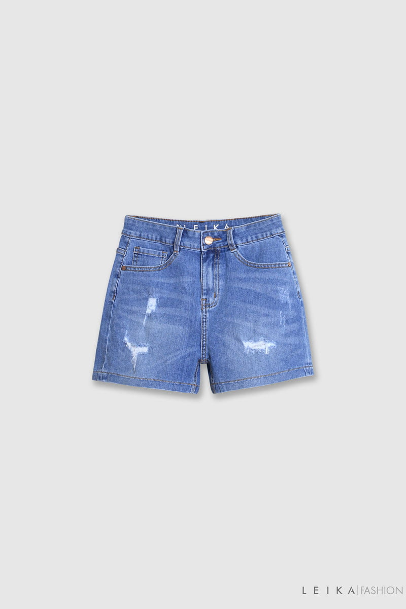 Quần sooc jeans rách gấu thường xanh dương