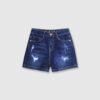 Quần sooc jeans rách gấu thường xanh dương 2