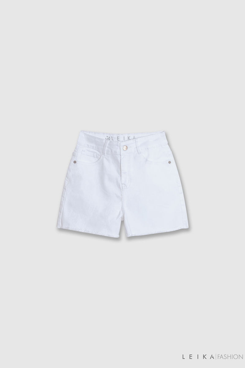 Quần sooc jeans trơn tua gấu trắng