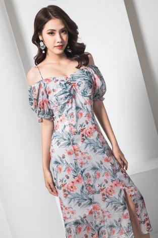 Đầm maxi 2 dây hoa tay chun hồng
