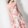 Đầm maxi 2 dây hoa to đỏ