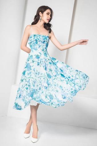 Đầm maxi 2 dây hoa to xanh dương