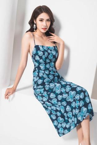 Đầm maxi 2 dây nơ lưng xanh