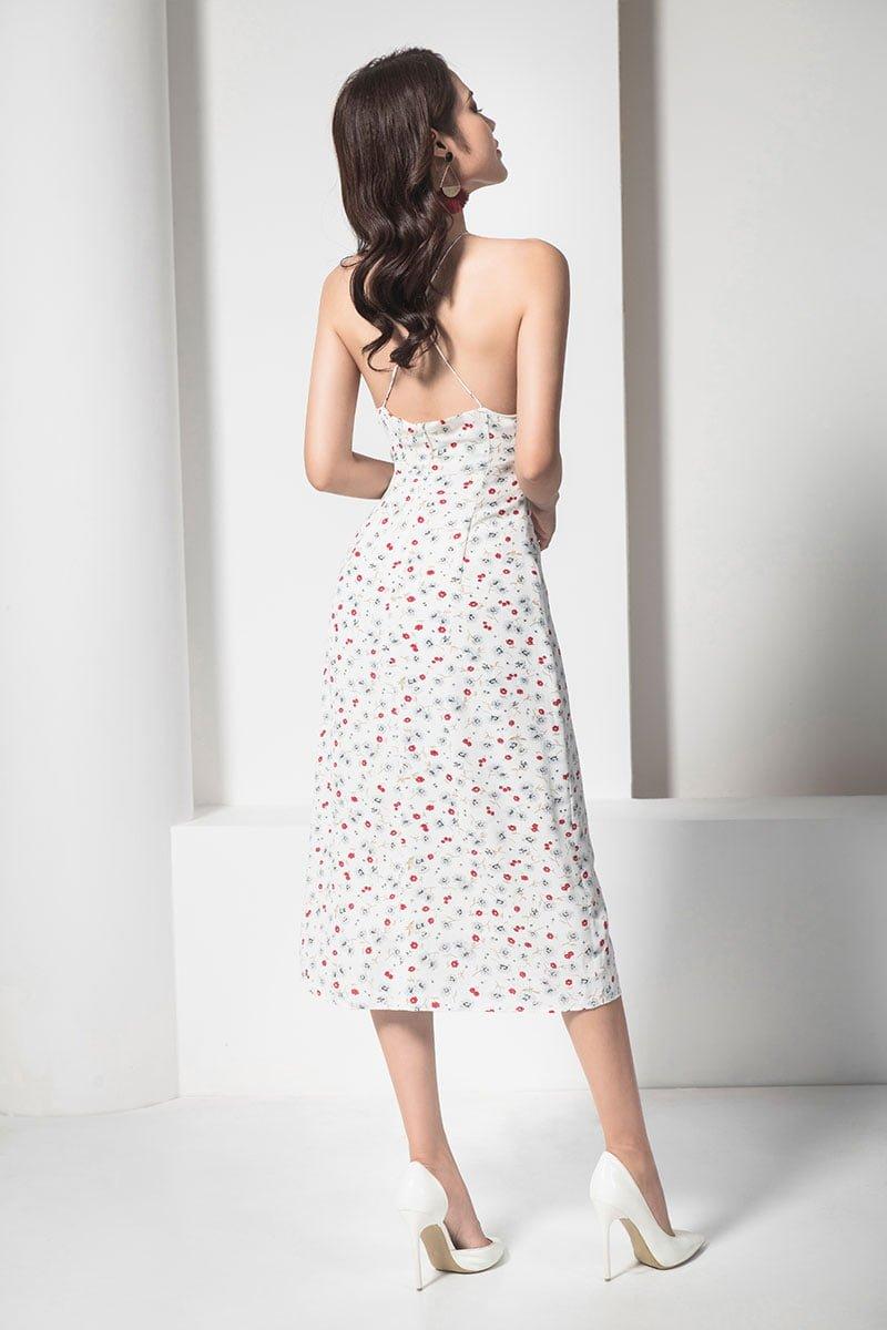 Đầm maxi hoa dây chéo nơ ngực trắng