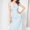 Đầm maxi hoa dây chéo nơ ngực xanh