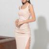 Đầm ôm 2 dây rút sườn hồng