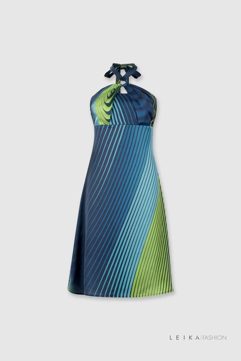 Đầm xòe cổ yếm đáp ngực xanh lá
