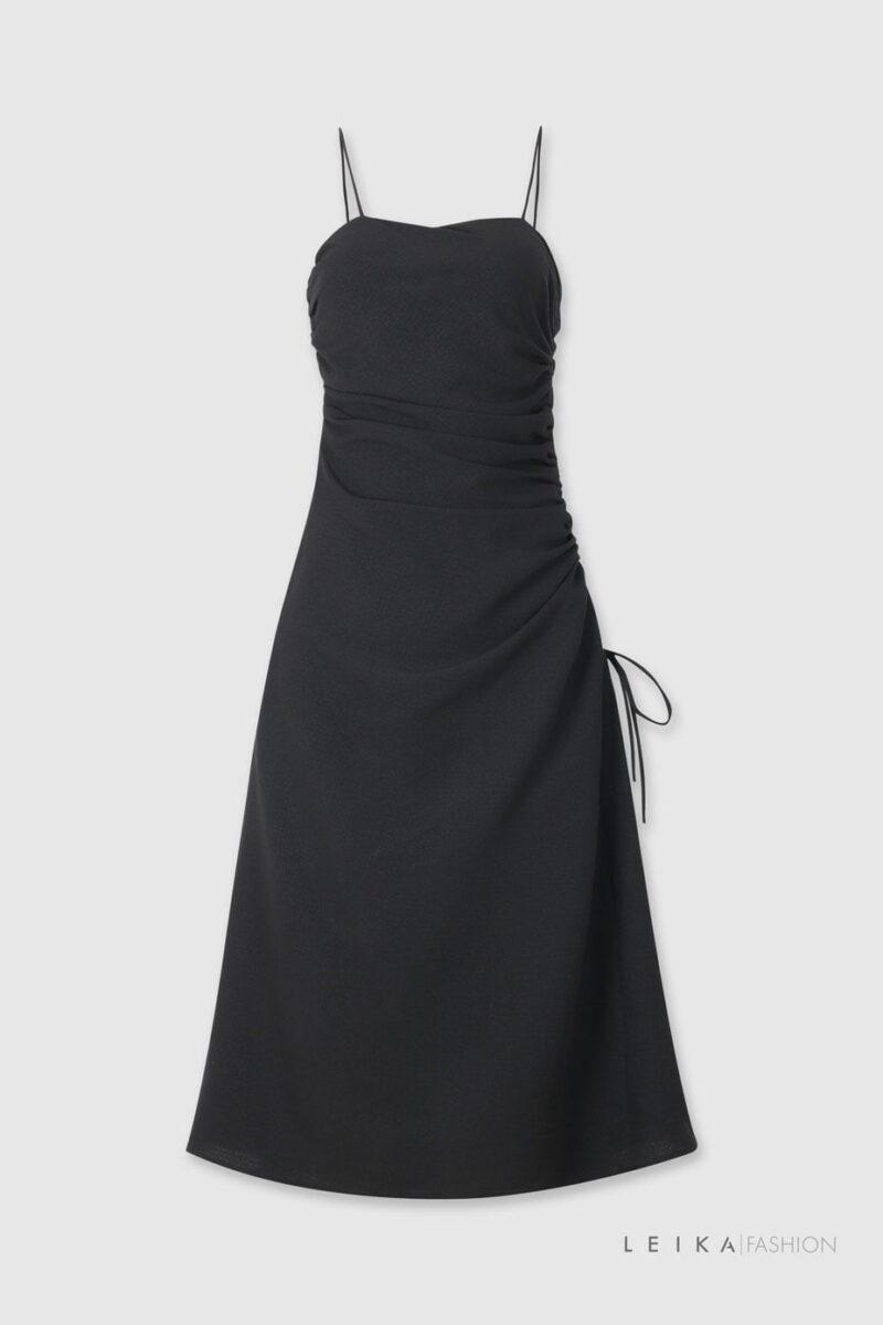 Đầm xòe hai dây rút sườn đen