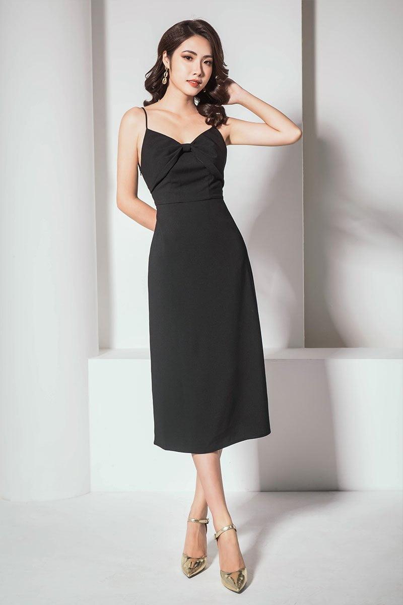 Đầm maxi 2 dây khoét sau lưng đen