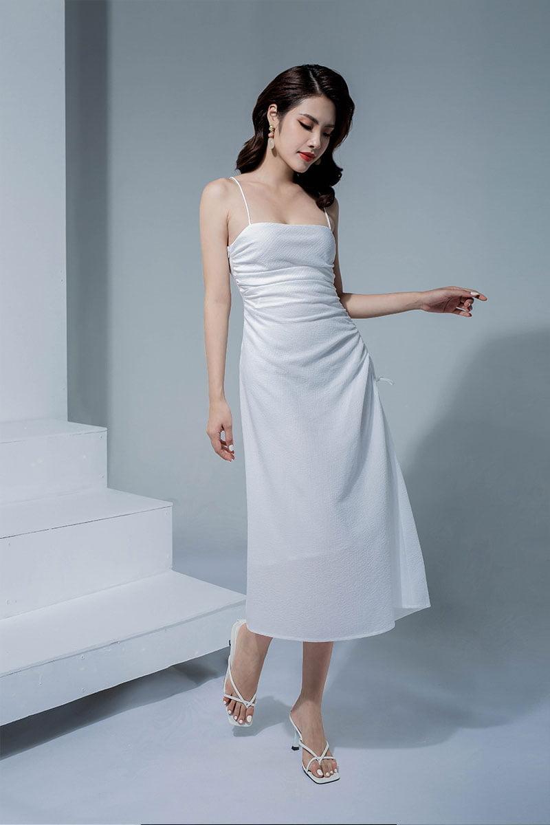 Đầm xòe hai dây rút sườn trắng