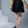 Chân váy A bổ thân diễu chỉ đen
