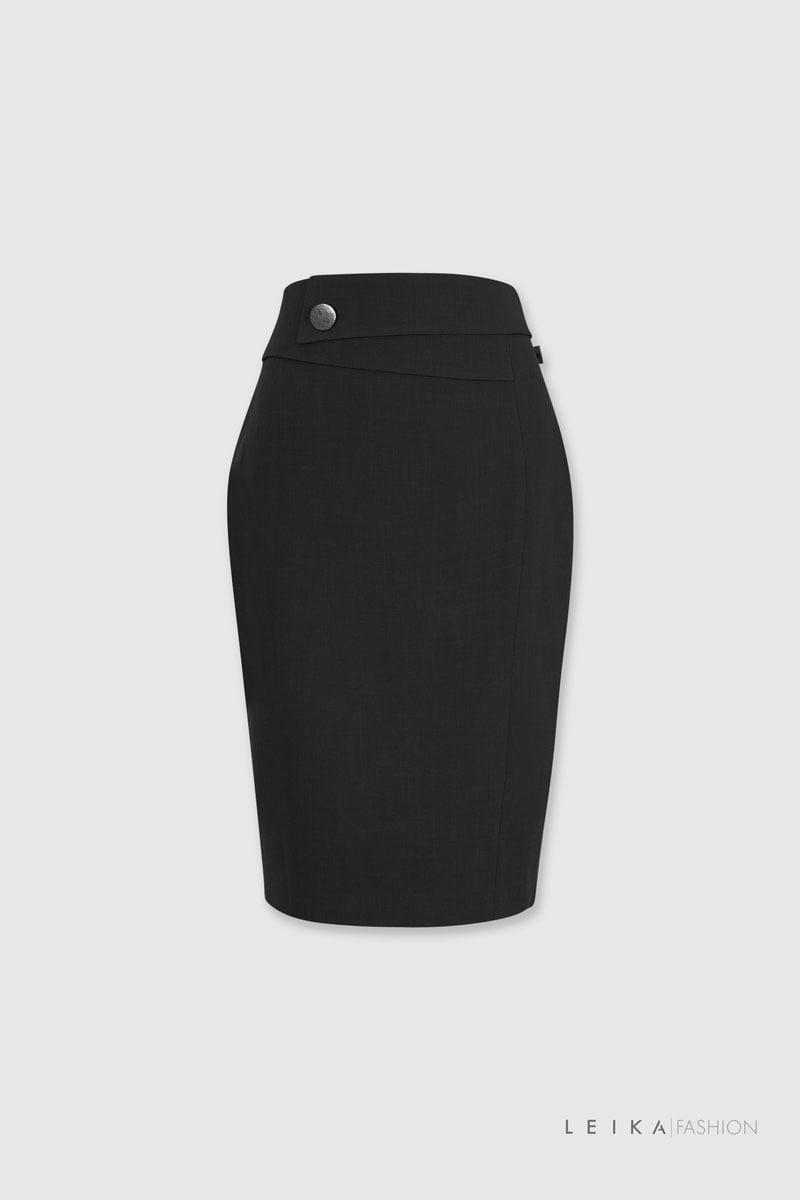 Chân váy bút chì cạp bong đai chéo đen