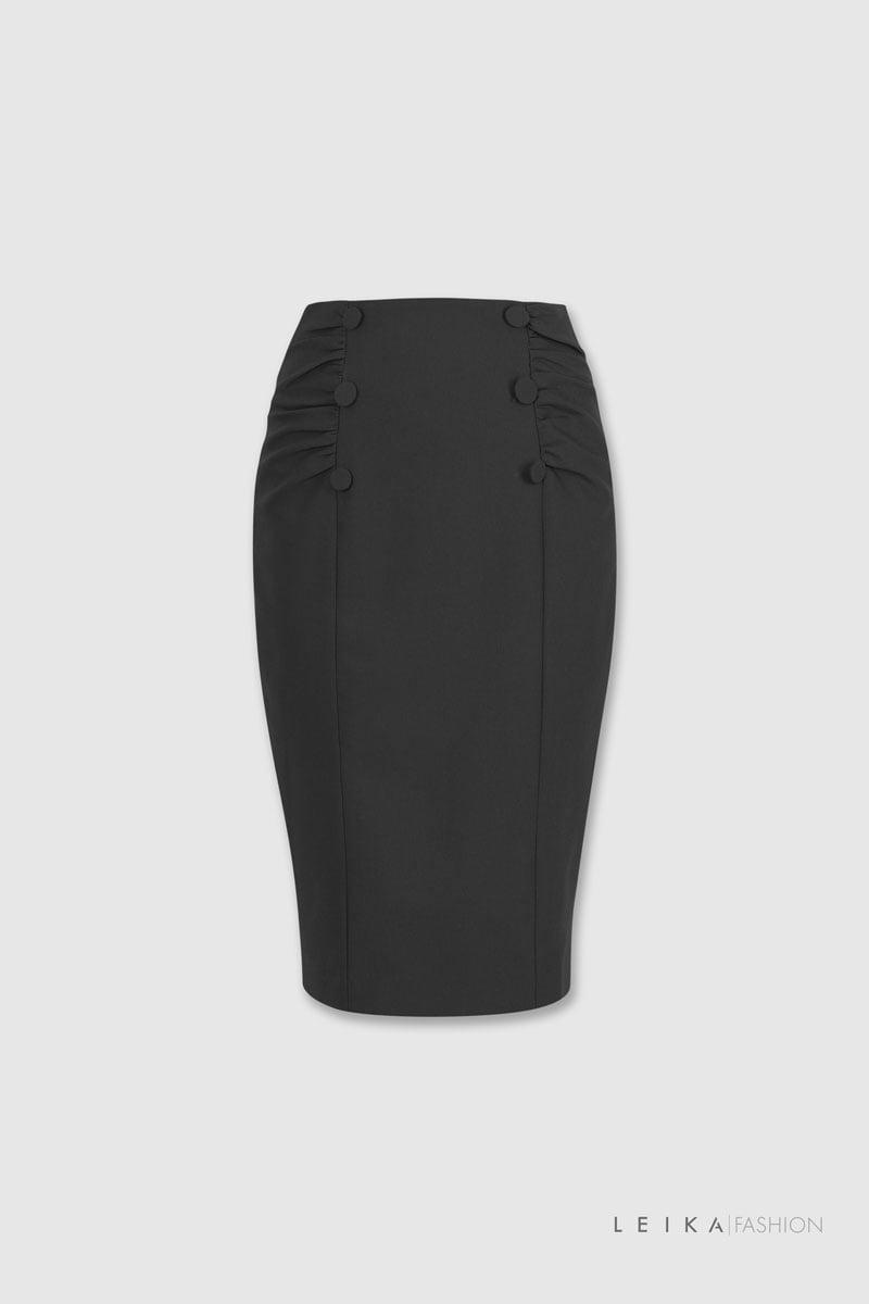Chân váy bút chì nhún hai bên đen