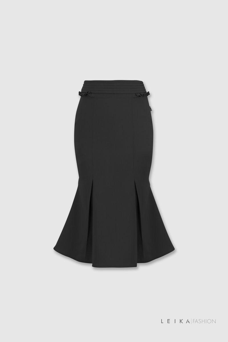 Chân váy đuôi cá cạp xếp bèo đen