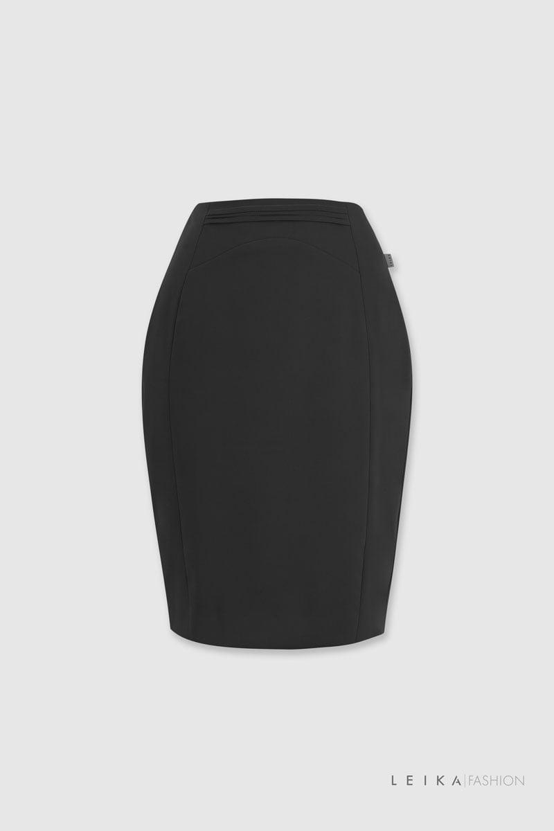Chân váy ôm cạp xếp ly ngang đen