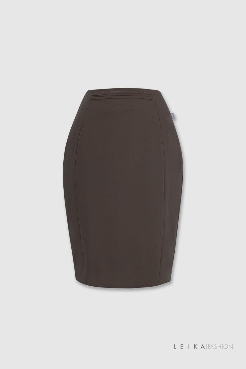 Chân váy ôm cạp xếp ly ngang nâu